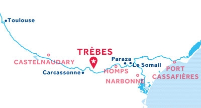 Trèbes base location map