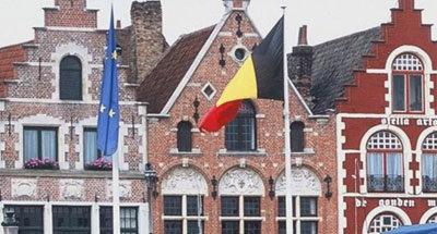 Belgium flag and house facade Flanders