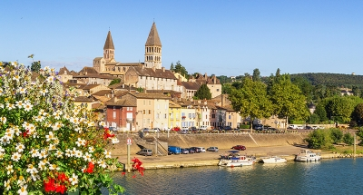 Tournus town on the river bank
