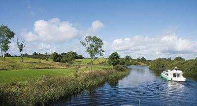 Cruising through lush, green countryside