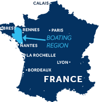 Map showing where Brittany boating region is in France