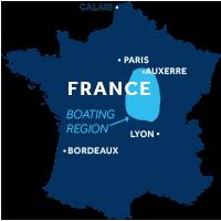 El mapa indica la región de navegación del Valle del Loira y Nivernais en Francia