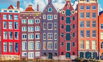 Wobbly houses in Amsterdam